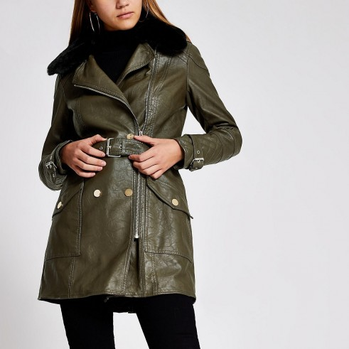 RIVER ISLAND Khaki faux leather belted jacket – dark-green longline jackets