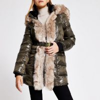 River Island Khaki hooded padded fur trim belted coat | green faux fur trimmed winter coats
