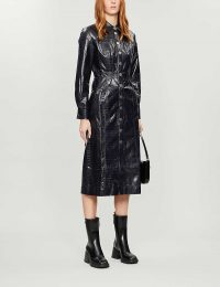 KITRI Charlie croc-embossed faux-leather midi dress in navy
