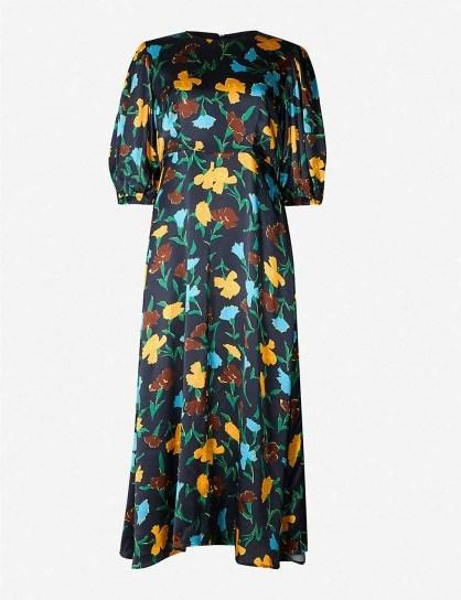 KITRI Floral-print satin midi dress in carnation print - flipped