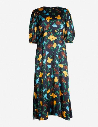 KITRI Floral-print satin midi dress in carnation print