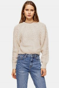 Topshop Knitted Cable Crop Jumper in Oatmeal | neutral knitwear