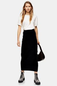 Topshop Knitted Chenille Midi Skirt in black | trending knitwear
