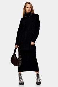 Topshop Knitted Chenille Oversized Longline Jumper in Black | high neck drop shoulder jumpers