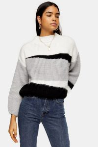 Topshop Knitted Colour Block Cropped Jumper | cool turtle neck sweater