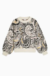 TOPSHOP Knitted Paisley Floral Jumper Ivory / patterned crew neck sweater