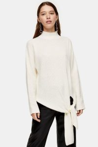 Topshop Knitted Tie Hem Jumper With Wool in Ivory | contemporary knits