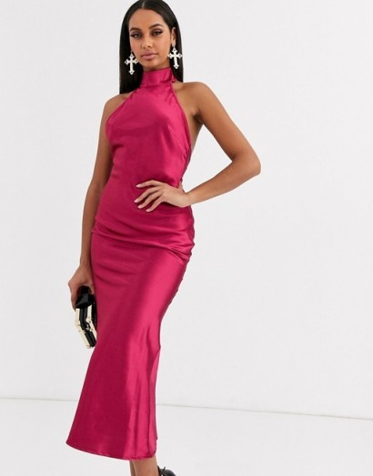 Koco & K high neck satin midaxi dress in fuschia | fuchsia-pink party dresses | evening glamour