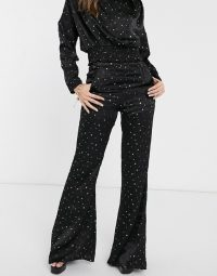 Koco & K high waist trouser co ord in black and gold star print | vintage look evening pants