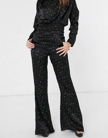 Koco & K high waist trouser co ord in black and gold star print | vintage look evening pants - flipped