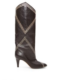 ISABEL MARANT Lahia eyelet-embellished black leather boots / designer winter footwear