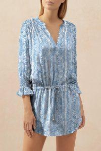heidi klein Lake Manyara Smocked Tunic – blue resort wear tunics – pool fashion – beachwear