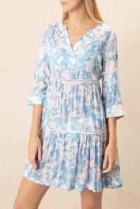 heidi klein Langkawi V Neck Tunic Dress – floral beachwear – blue floral poolside dresses