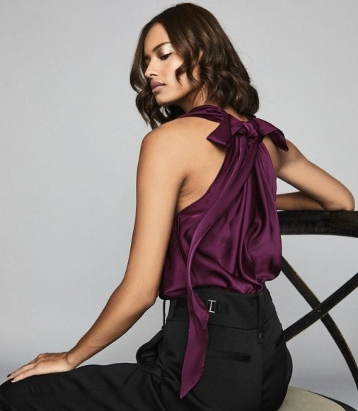 Reiss LAURA BOW DETAIL SATIN TOP BERRY – draped cowl-neck evening tops – party glamour - flipped
