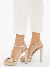 MALONE SOULIERS Lauren gold crystal-embellished satin platform sandals – glamorous evening heels