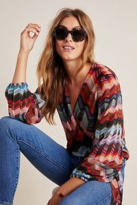 Conditions Apply Laurie Chevron Wrap Blouse Red Motif