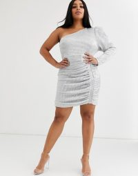 Lavish Alice Plus structured one shoulder mini dress in silver sequin – ruched occasion dresses