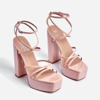EGO Leona Square Toe Platform Block Heel In Nude Patent – strappy platforms