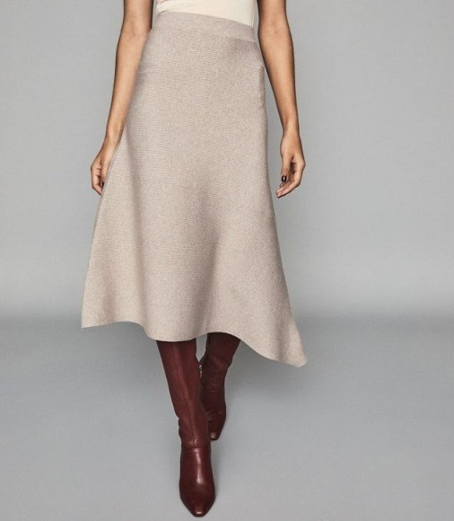 REISS LEONORA ASYMMETRIC KNITTED SKIRT STONE ~ neutral knitwear - flipped