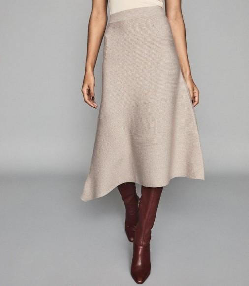 REISS LEONORA ASYMMETRIC KNITTED SKIRT STONE ~ neutral knitwear