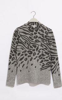 OASIS LEOPARD PLACEMENT JUMPER DARK GREY / patterned knitwear