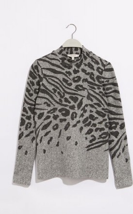 OASIS LEOPARD PLACEMENT JUMPER DARK GREY / patterned knitwear