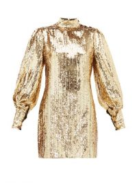 BORGO DE NOR Lima gold sequinned mini dress / vintage style evening glamour