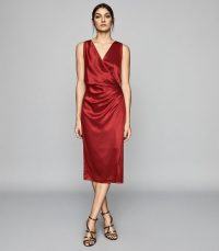 REISS LUCINE WRAP FRONT COCKTAIL DRESS RED
