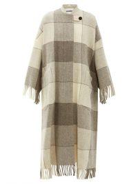 JIL SANDER Luella checked and tassel-trimmed wool cape coat in beige / luxury knitwear