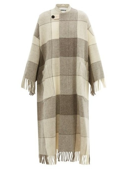 JIL SANDER Luella checked and tassel-trimmed wool cape coat in beige / luxury knitwear - flipped