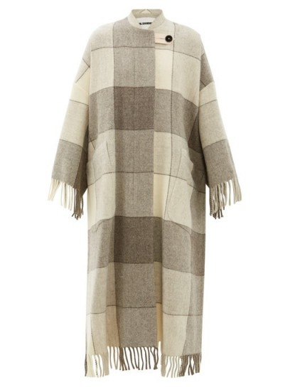 JIL SANDER Luella checked and tassel-trimmed wool cape coat in beige / luxury knitwear