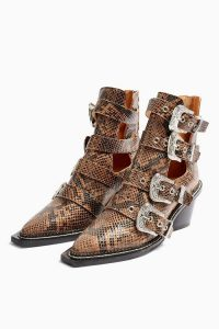 TOPSHOP MAGIC Leather Snake Buckle Western Boots / multi buckled boot