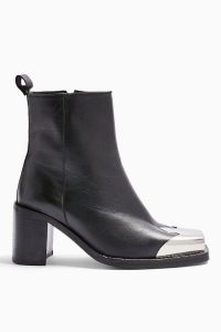 Topshop MARSHAL Western Leather Boots in Black | square metal toe-cap ankle boot