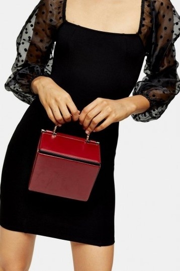 Topshop MEG Red Boxy Cross Body Bag | small box bags - flipped