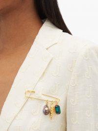 LIZZIE FORTUNATO Memento baroque pearl gold-plated brooch ~ pearls and crystals ~ charm brooches