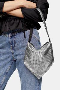 TOPSHOP MILLIE Mesh Shoulder Bag / small silver handbag