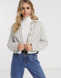 Miss Selfridge boucle blazer with faux pearl buttons in ivory / tweed jacket