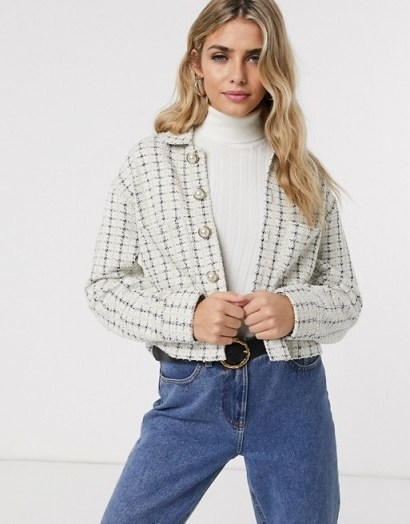 Miss Selfridge boucle blazer with faux pearl buttons in ivory / tweed jacket - flipped