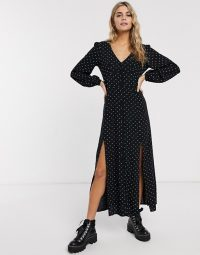 Miss Selfridge maxi tea dress in polka dot in black
