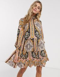 Miss Selfridge paisley print mini dress in multi / high smock-necked dresses