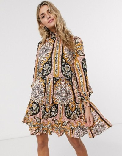 Miss Selfridge paisley print mini dress in multi / high smock-necked dresses - flipped