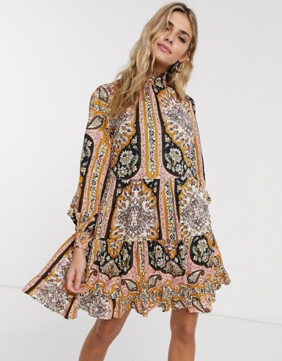 Miss Selfridge paisley print mini dress in multi / high smock-necked dresses