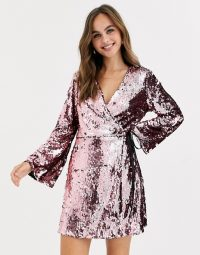 Miss Selfridge sequin wrap mini dress in pink / sparkling party dresses