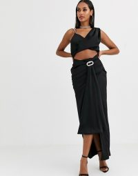 Missguided Peace and Love satin drape co-ord in black | glamorous evening outfit