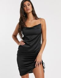 Missguided satin ruched mini dress with diamante straps in black | side gathered slip dresses | strappy LBD