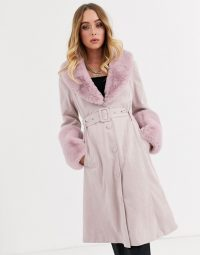 Missguided suedette belted coat with faux fur trims in pink / luxe style winter coats