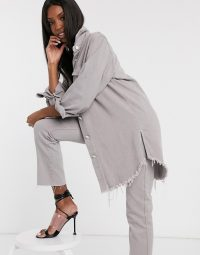 Missguided Tall denim co-ord in grey | shirt and jeans set