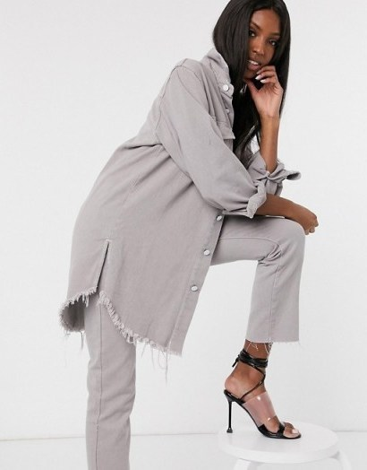 Missguided Tall denim co-ord in grey | shirt and jeans set - flipped