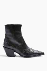 TOPSHOP MISSOURI Leather Western Boots Black – Cuban heels