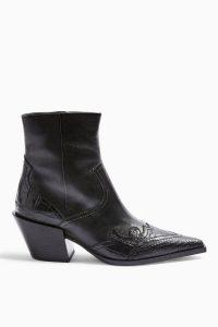 TOPSHOP MISSOURI Leather Western Boots Black – Cuban heels
